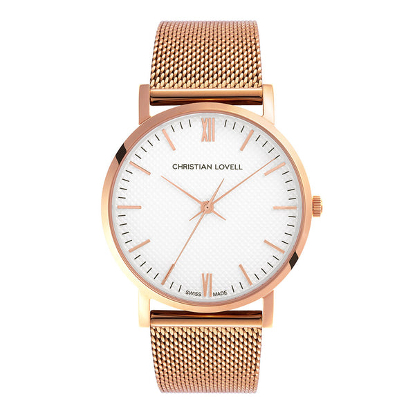 Premiere Rose Gold Milanese w/ Guilloche Dial