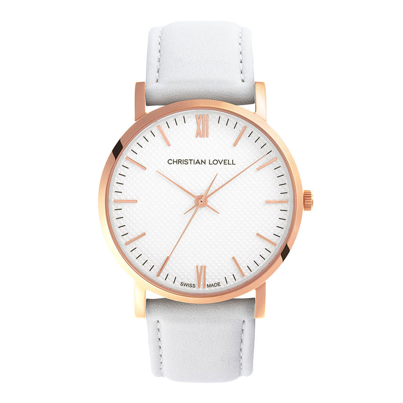 Premiere White Leather Rose Gold w/ Guilloche Dial