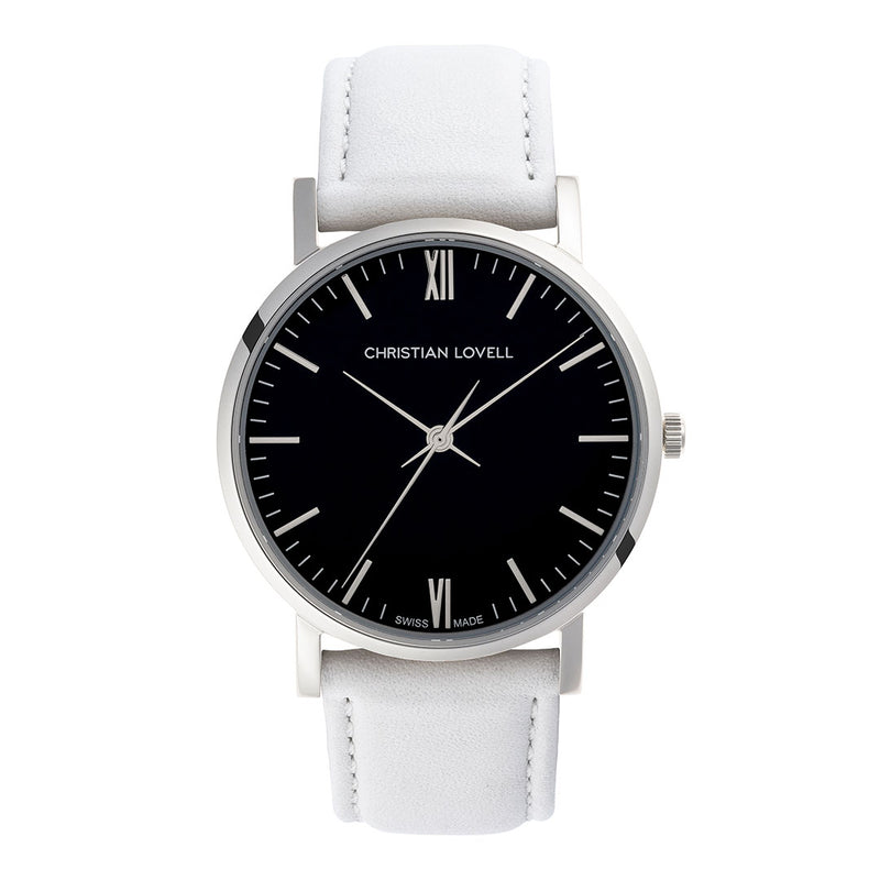 Premiere White Leather Silver w/ Black Dial