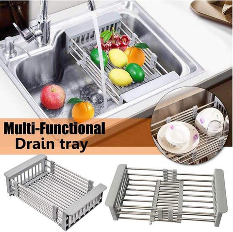 Adjustable Stainless In Sink Dish Rack