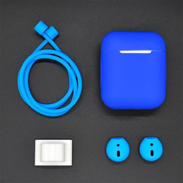 4 in 1 Shockproof Earphone Case For AirPods and Earpods Blue Trendy Joys