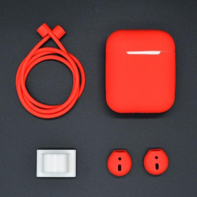 4 in 1 Shockproof Earphone Case For AirPods and Earpods Red Trendy Joys