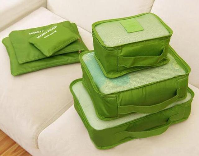6-Piece Packing Cubes and Luggage Organizer Green Trendy Joys