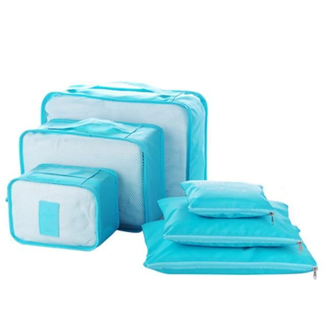 6-Piece Packing Cubes and Luggage Organizer Light Blue Trendy Joys