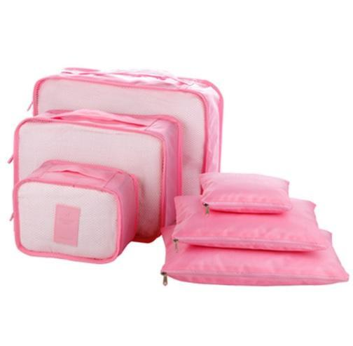 6-Piece Packing Cubes and Luggage Organizer Pink Trendy Joys