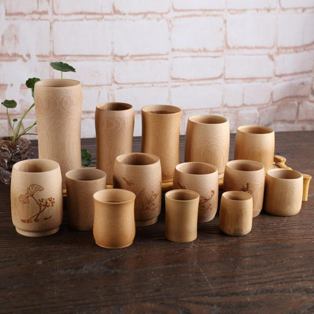 Bamboo Cups (Bamboo Teacups, Bamboo Mugs) No Design / 8cm / 3.15in Trendy Joys