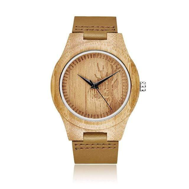 Bamboo Watch for Everyday Wear Engraved Buck Trendy Joys