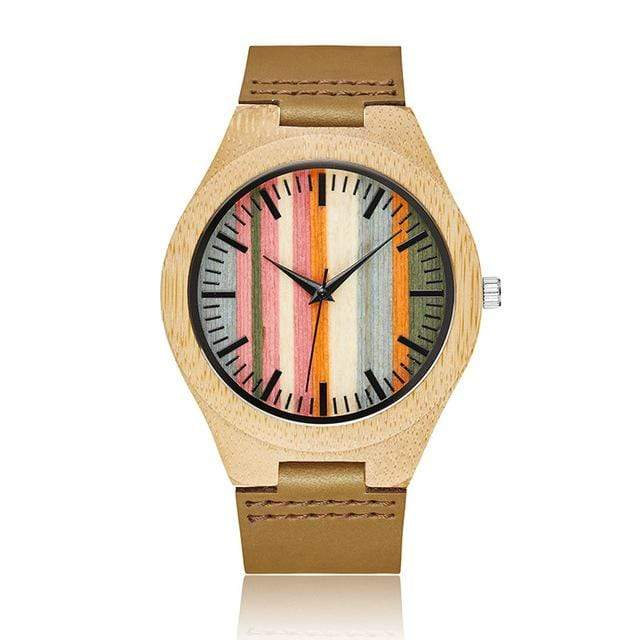 Bamboo Watch for Everyday Wear Multi-Colored with Brown Strap Trendy Joys