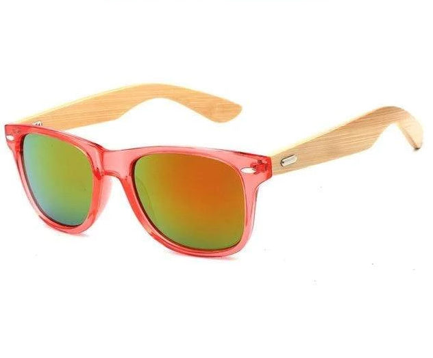 Bamboo Wooden Sunglasses Pink Rim, Yellow Lens Trendy Joys