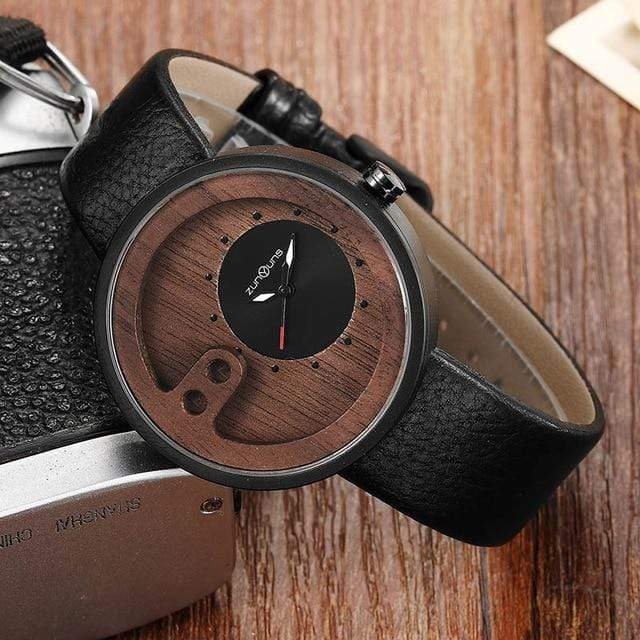 Contemporary Designed Bamboo Wooded Watches Black on Black Trendy Joys