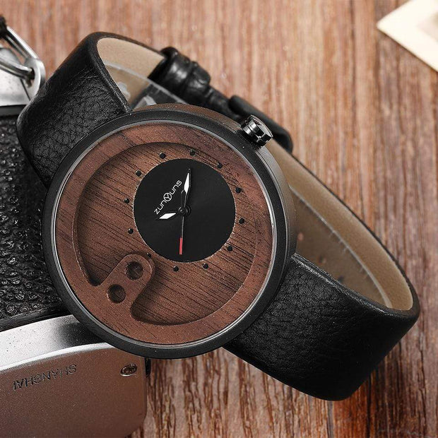 Contemporary Designed Bamboo Wooded Watches Black on White Trendy Joys
