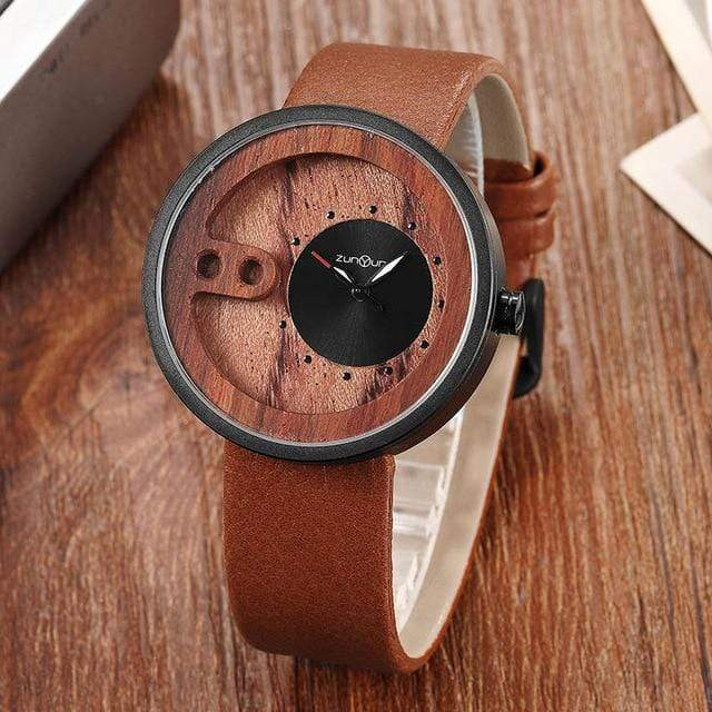 Contemporary Designed Bamboo Wooded Watches Brown on Black Trendy Joys