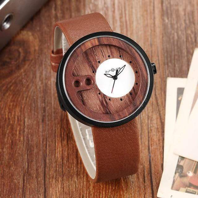 Contemporary Designed Bamboo Wooded Watches Brown on White Trendy Joys