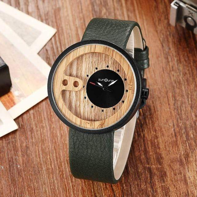 Contemporary Designed Bamboo Wooded Watches Green on Black Trendy Joys