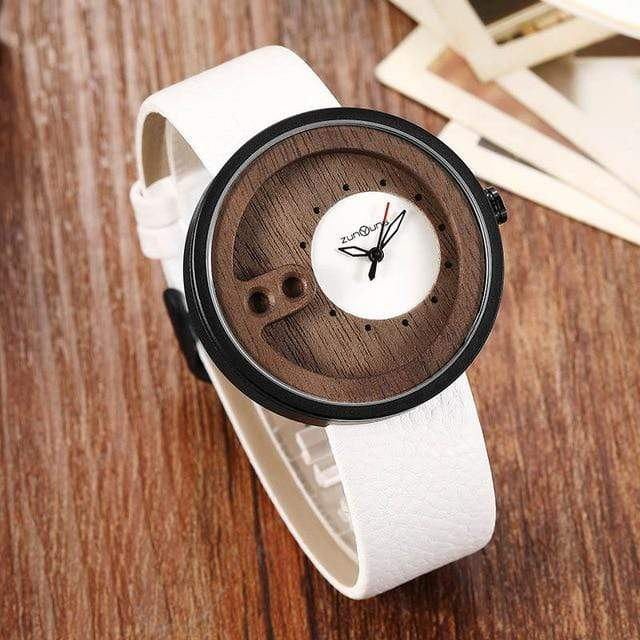 Contemporary Designed Bamboo Wooded Watches White on White Trendy Joys