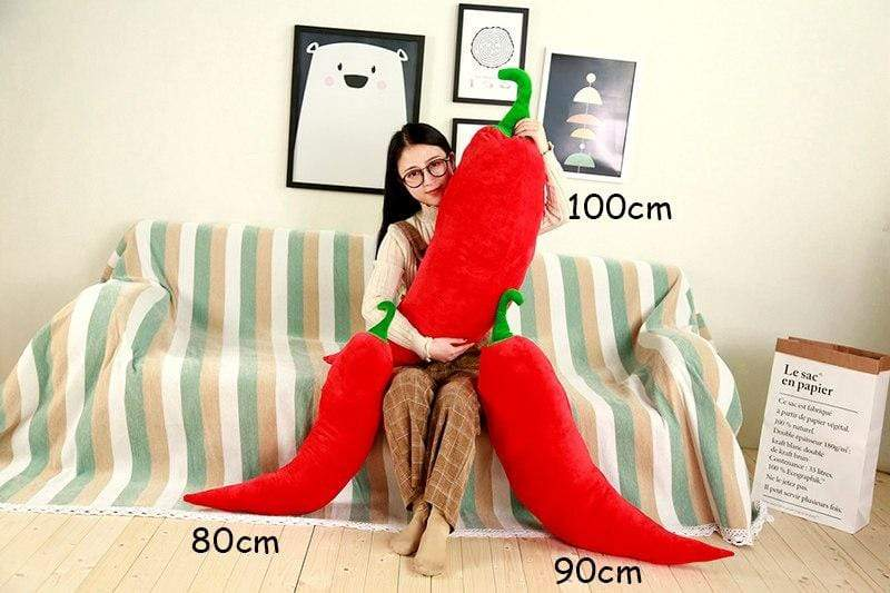 Giant Soft Red & Green Chili Plush Toys / Giant Stuffed Hot Pepper Pillows red / 80cm Trendy Joys