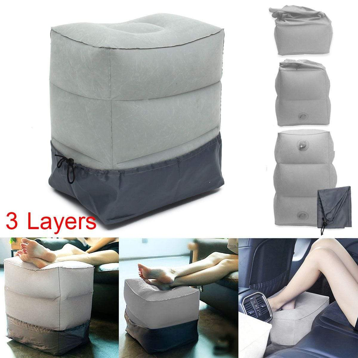 Inflatable Travel Foot Rest Pillow Trendy Joys