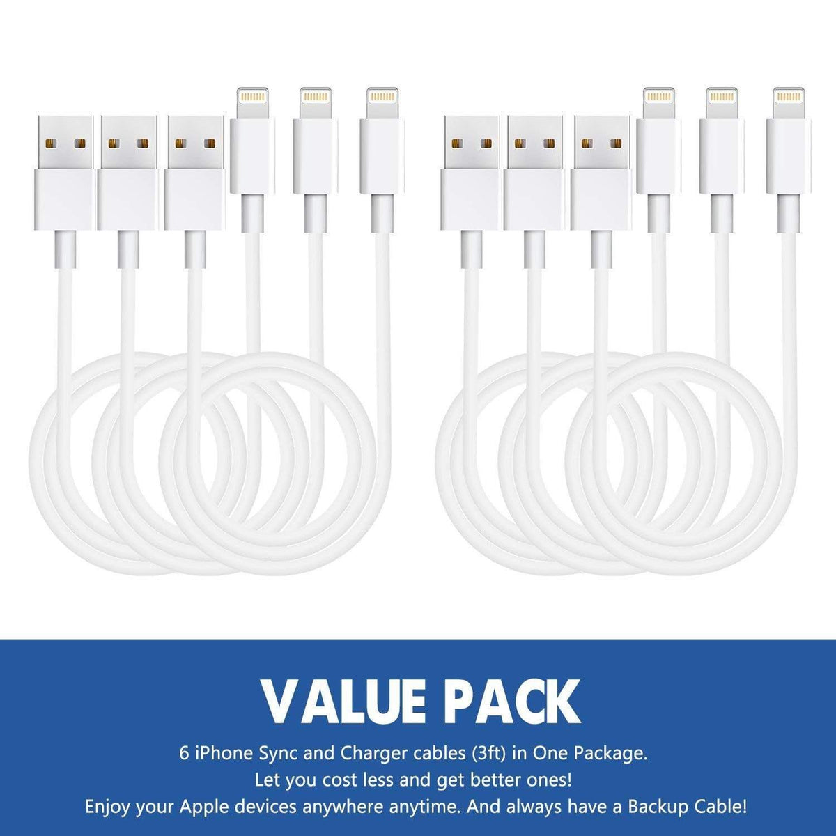 iPhone Charger 6 Pack 3 Trendy Joys