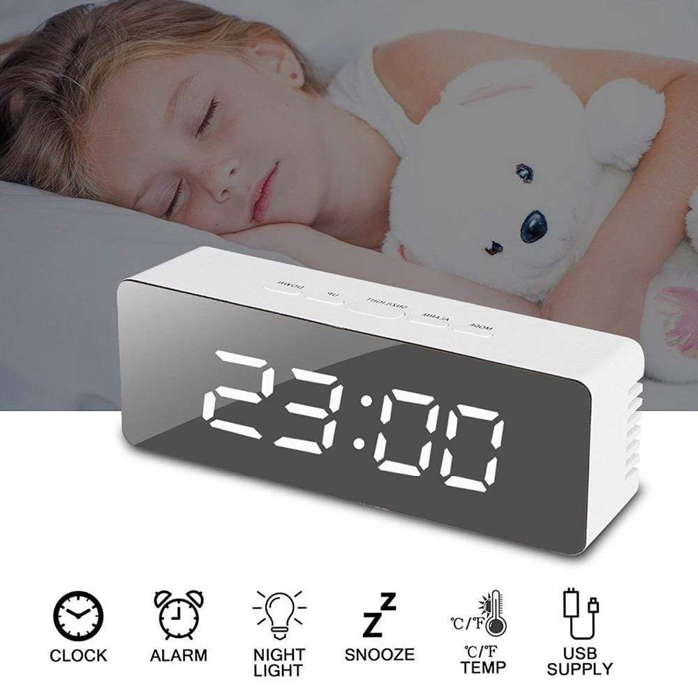 Mirror Alarm Clock Rectangle Trendy Joys