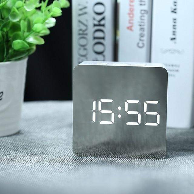 Mirror Alarm Clock Square Trendy Joys