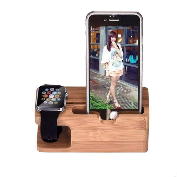 Multi-device USB Bamboo Charging Station Trendy Joys