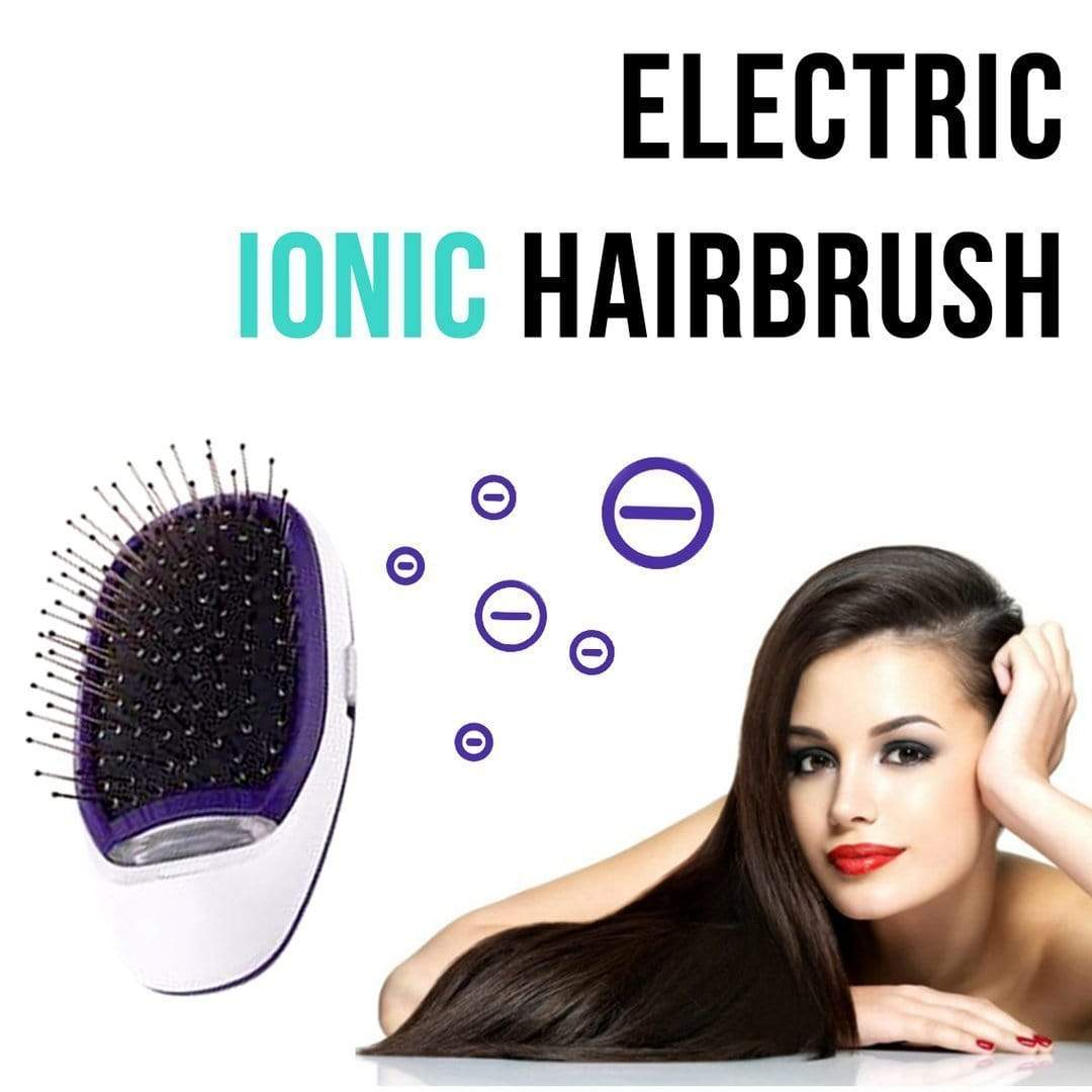 Portable Electric Ionic Hairbrush Purple Trend Frenzys