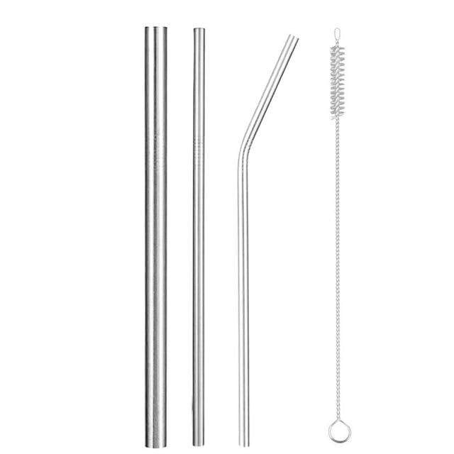 Reusable Metal Straws with Brush and Pouch 1 Silver Big, Straight and Bent Straws + Brush Trendy Joys