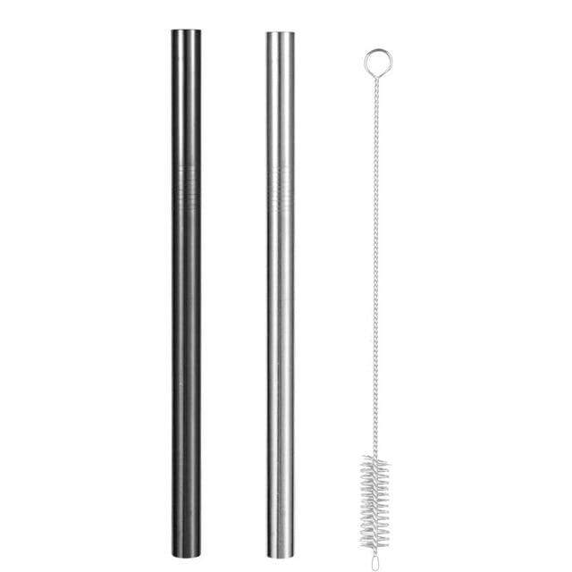 Reusable Metal Straws with Brush and Pouch 1 Silver Straw + 1 Black Straw Brush Trendy Joys