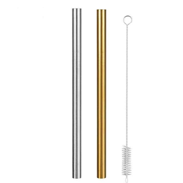 Reusable Metal Straws with Brush and Pouch 1 Silver Straw + 1 Golden Straw Brush Trendy Joys