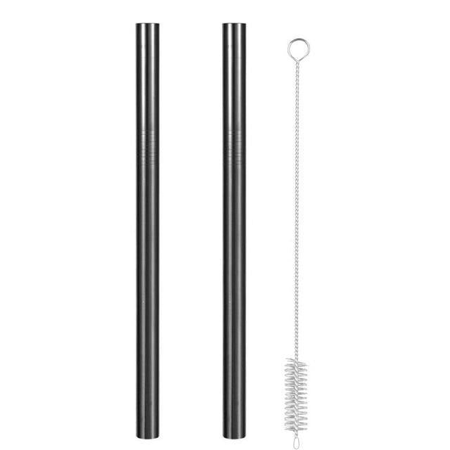 Reusable Metal Straws with Brush and Pouch 2 Black Straws + Brush Trendy Joys