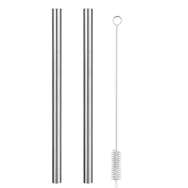 Reusable Metal Straws with Brush and Pouch 2 Silver Straws + Brush Trendy Joys