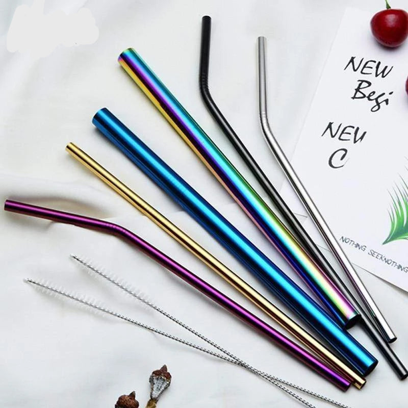 Reusable Metal Straws with Brush and Pouch Trendy Joys