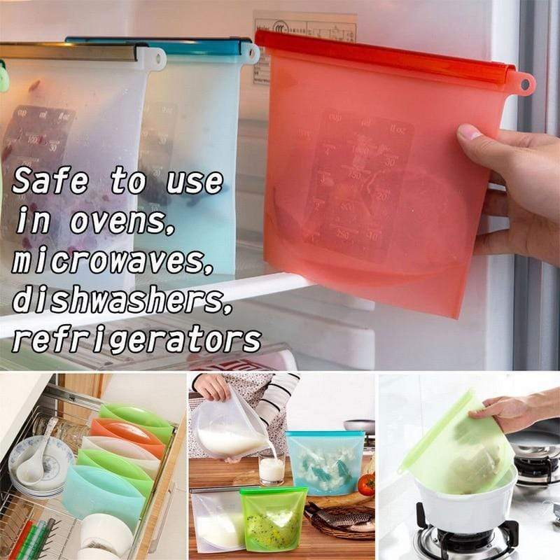 Reusable Silicone Food Bag Red / 1000ml Trendy Joys