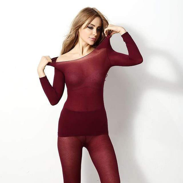Seamless Thermal Innerwear Set Wine Red Trendy Joys