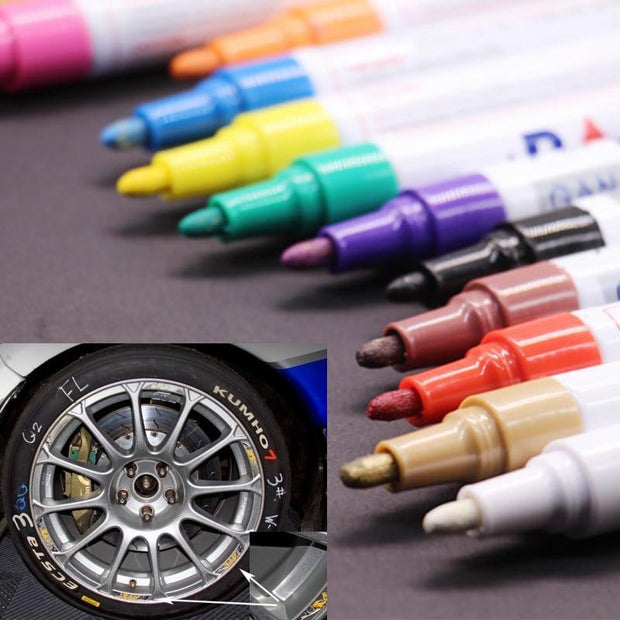 Tire Paint Marker Pens - (12 Colors) White Trendy Joys