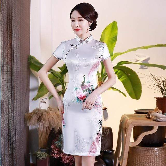 Traditional Satin Chinese Dress Style A / S Trendy Joys