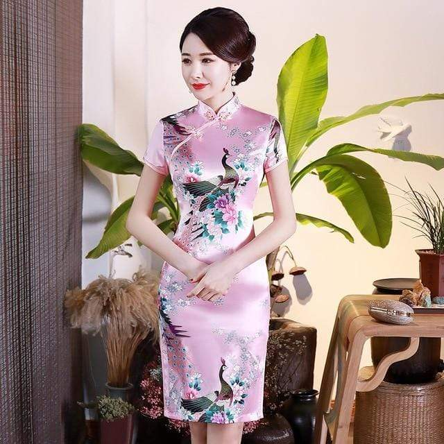 Traditional Satin Chinese Dress Style B / S Trendy Joys