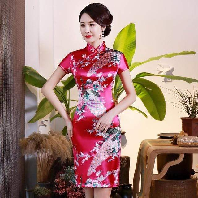 Traditional Satin Chinese Dress Style C / S Trendy Joys