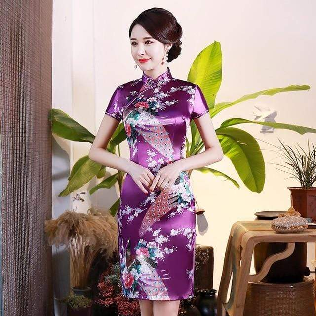 Traditional Satin Chinese Dress Style E / S Trendy Joys