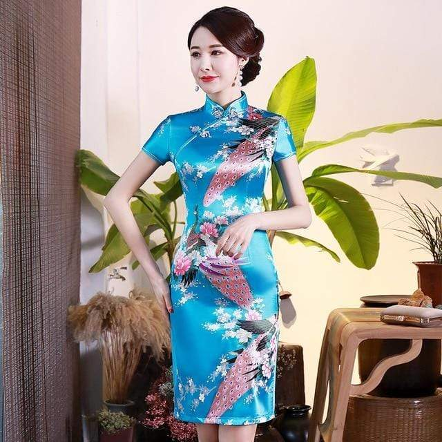 Traditional Satin Chinese Dress Style F / S Trendy Joys