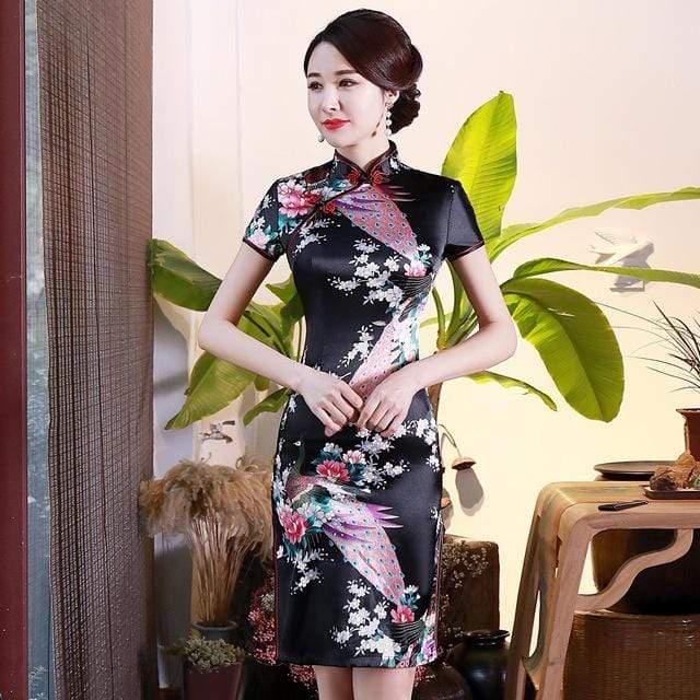 Traditional Satin Chinese Dress Style G / S Trendy Joys