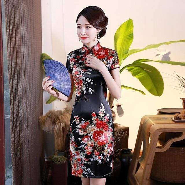 Traditional Satin Chinese Dress Style I / S Trendy Joys