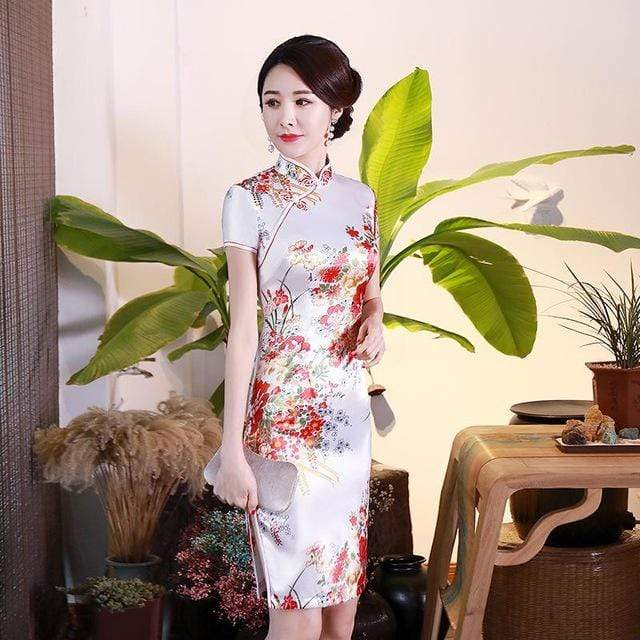 Traditional Satin Chinese Dress Style J / S Trendy Joys