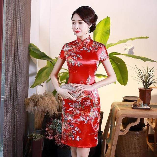 Traditional Satin Chinese Dress Style K / S Trendy Joys