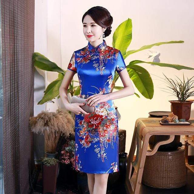 Traditional Satin Chinese Dress Style L / S Trendy Joys