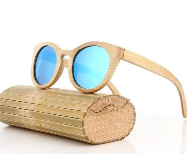 Women's Bamboo Polarized Sunglasses Beige Round with Light Blue Lens Trendy Joys