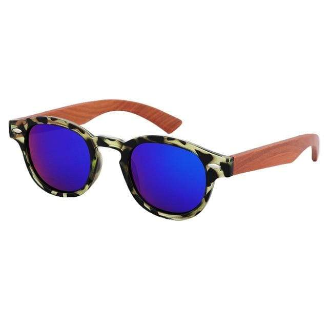 Women's Bamboo Sunglasses Animal Print Trendy Joys