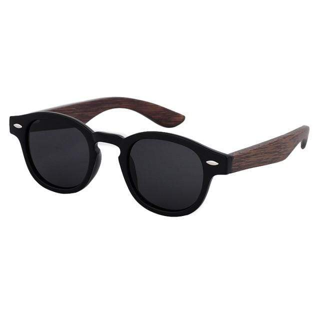 Women's Bamboo Sunglasses Black and Brown Trendy Joys