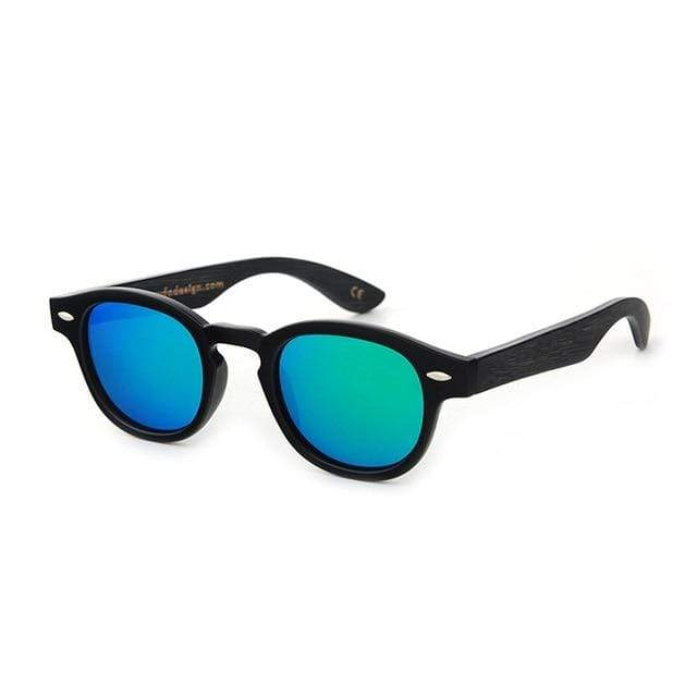 Women's Bamboo Sunglasses Black with Blue Lens Trendy Joys