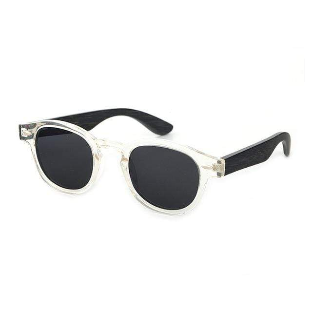Women's Bamboo Sunglasses White with Black Lens Trendy Joys